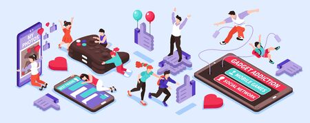 Gadget addiction isometric narrow set with social network and games symbols isolated vector illustration 向量圖像