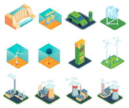 Set of isometric renewable wind power green energy sources isolated icons and images of power stations vector illustration