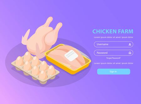 Chicken farm isometric background login page with editable text and images of broiler eggs and fillet vector illustration