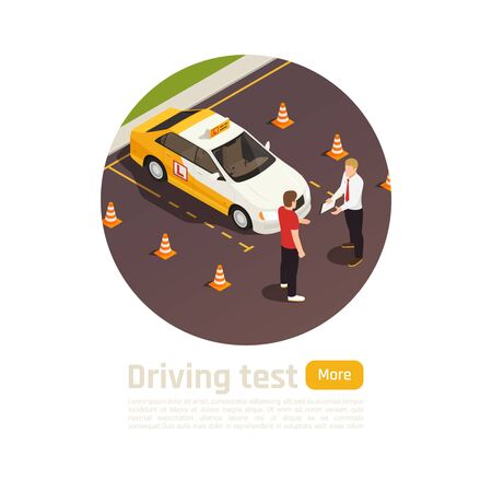 Driving school isometric round composition with circle view of student and instructor characters near training vehicle vector illustration Ilustracja