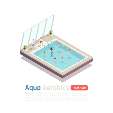 Exclusive water aerobic weight loss exercise class for women with aqua fitness instructors isometric composition vector illustration