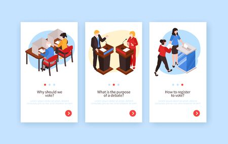 Isometric election vertical banners set with human characters of voters politicians editable text and page buttons vector illustration