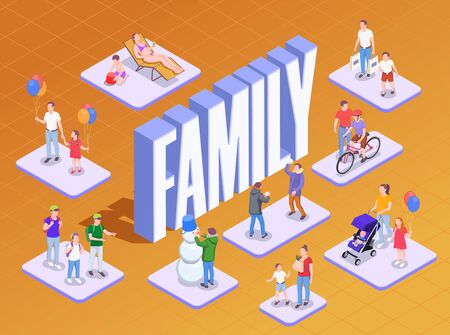 Family holidays isometric composition with 3d text and human characters of adult people children family members vector illustration