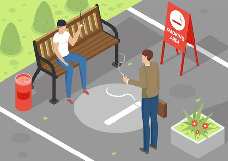 Two people smoking in special area outdoors 3d isometric vector illustration  イラスト・ベクター素材