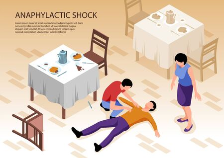 Two people caring of man with allergy and anaphylactic shock lying on floor in restaurant 3d isometric vector illustration