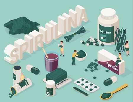 Spirulina isometric set with images of medical products made with cyanobacteria 3d text and small people vector illustration