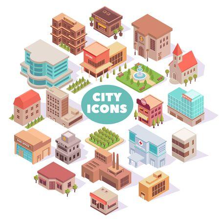 Kompozycja z izometrycznymi kolorowymi obrazami miasta z nowoczesnymi budynkami, kwadratami i ogrodami z ilustracją wektorową tekstu i cieni Ilustracje wektorowe