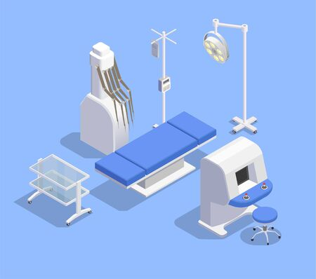 Medical equipment isometric composition with images of patient table therapeutic equipment and robotic manipulators with remote vector illustration Illustration