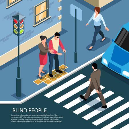 Hombre ciego en baldosas táctiles asistido por peatón listo para cruzar la calle concurrida composición isométrica ilustración vectorial