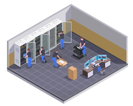 Data center facility isometric view with personnel checking server unpacking hardware equipment administrator controlling operations vector illustration