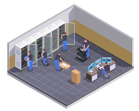 Widok izometryczny obiektu centrum danych z personelem sprawdzającym serwer rozpakowujący sprzęt administrator sprzętu kontrolującego ilustrację wektorową operacji