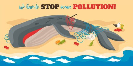 Ocean pollution isometric poster with big dying whale entangled in ropes lying on sea beach vector illustration