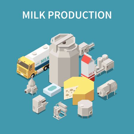 Dairy production concept with milk packaging and transportation symbols isometric vector illustration