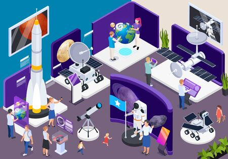 Modern museum astronomical exhibition hall isometric composition with telescopes spacecraft interactive virtual space travel adventure vector illustration