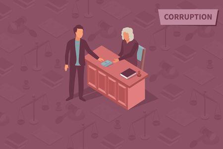 Isometrisches Designkonzept der Korruption mit korruptem Richter, der Bestechungsgelder in der Gerichtssaalvektorillustration annimmt Vektorgrafik