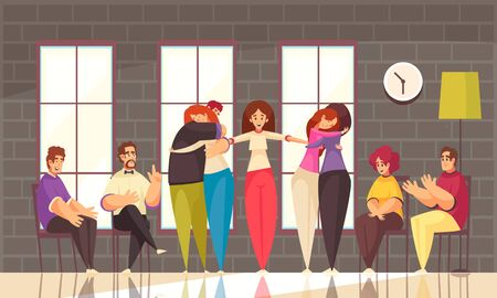 Psychotherapy group therapy session flat composition with young ladies led by therapist hugging each other vector illustration