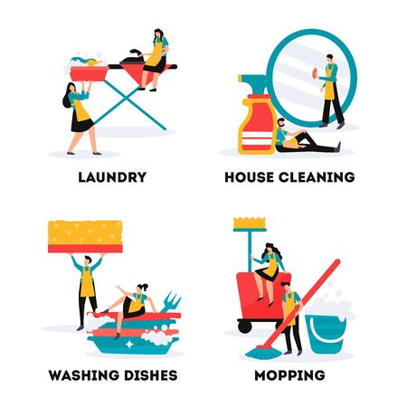 House cleaning services and industrial cleaners teams 4 flat compositions with laundry mopping washing dishes vector illustration  Illusztráció