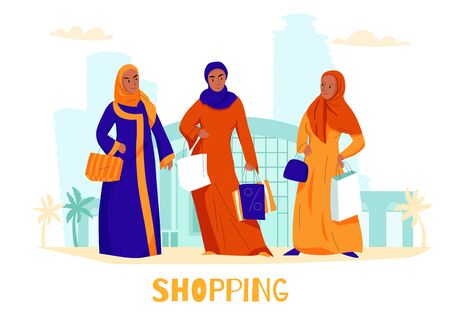 Flat arabs women shopping composition with three women at the shopping center vector illustration