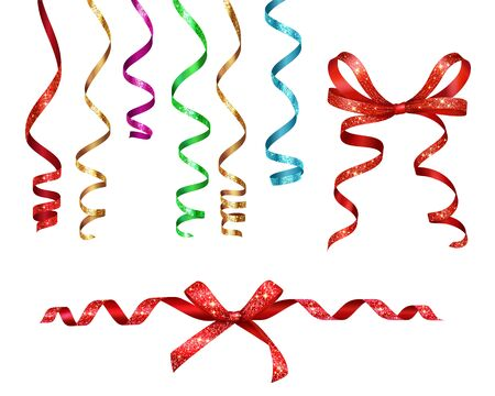 Curled ribbons serpentine with glitters realistic collection on blank background with isolated images of party decorations vector illustration Vector Illustration