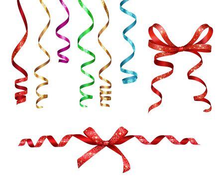 Serpentine de rubans bouclés avec une collection réaliste de paillettes sur fond blanc avec des images isolées de décorations de fête illustration vectorielle Vecteurs