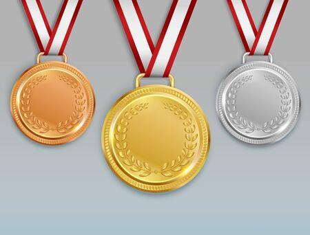 Conjunto realista de medallas con imágenes de medallas de oro, plata y bronce para los ganadores de la competencia con la ilustración de vector de cintas