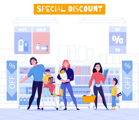 Supermarket and customers background with special discount symbols flat  vector illustration 向量圖像