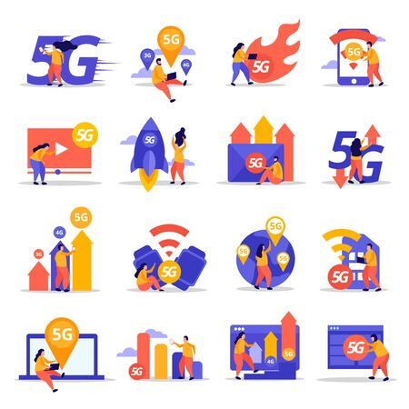 Fast speed internet flat icons demonstrated cloud technology wifi signal transmission 5G mobile communication vector illustration