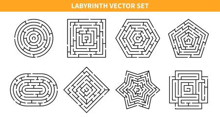 Labyrinth game black set with eight isolated maze schemes of various shape on blank background vector illustration