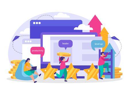 Composition plate de gamification d'entreprise avec des icônes représentant des éléments de niveau de leadership de productivité illustration vectorielle