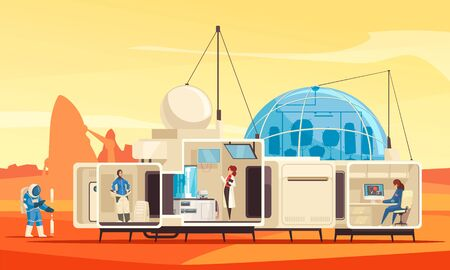 Planets colonization mission flat composition with human habitat station expedition research scientists on mars surface vector illustration Vector Illustration