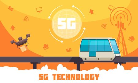 Broadband 5g internet technology flat poster with high speed remotely controlled vehicles  and web icons vector illustration