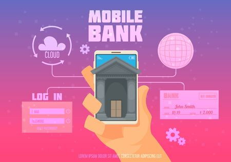 Mobile bank poster with log in and cloud symbols flat vector illustration