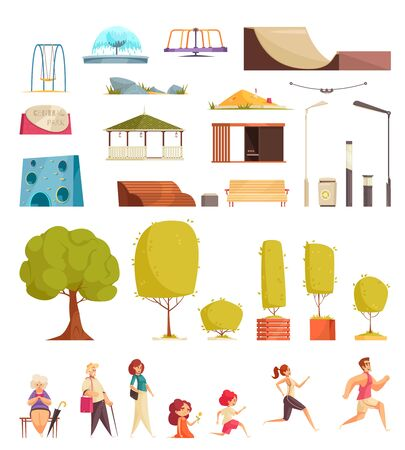 City park flat set with lanterns trees benches skateboarding elements swing runners walking knitting people vector illustration