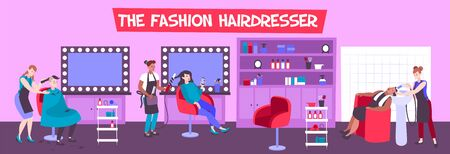 Hair salon interior with customers and hairdressers creating fashionable hairstyles flat vector illustration