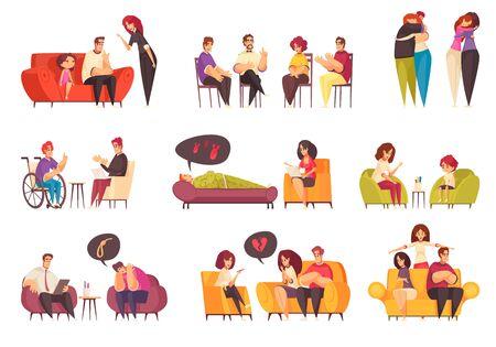 Set für psychische Gesundheit, das medizinische Hilfe in Psychologiekabinetten und Menschen darstellt, die eine Therapiesitzung mit Psychologen haben, isolierte Vektorillustration Vektorgrafik