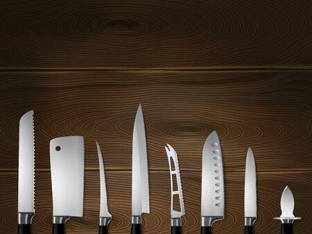 Kitchen butchers knives set closeup realistic image on dark textured wood with slicer carver cleaver vector illustration