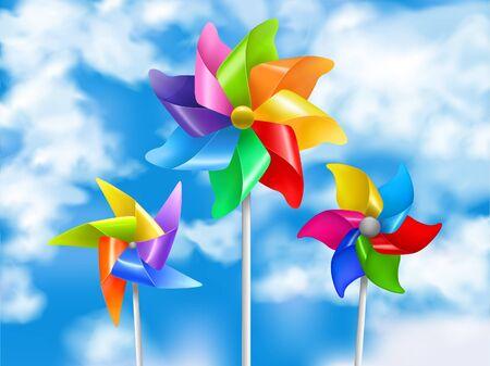 Farbige und realistische Windmühlenspielzeughimmelillustration in drei Größen und Stilvektorillustrationen Vektorgrafik