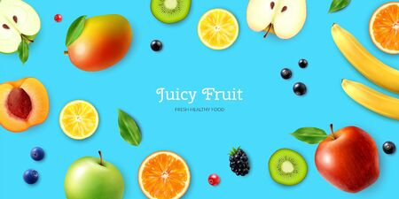 Juicy fruits and berries horizontal poster with lemon orange blueberry banana apple currant on bright blue background realistic vector illustration
