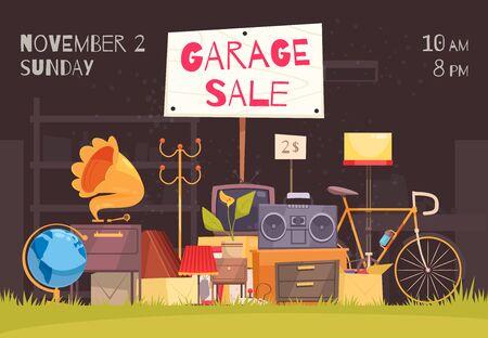 Cartel de venta de garaje con símbolos de fecha y hora ilustración vectorial plana