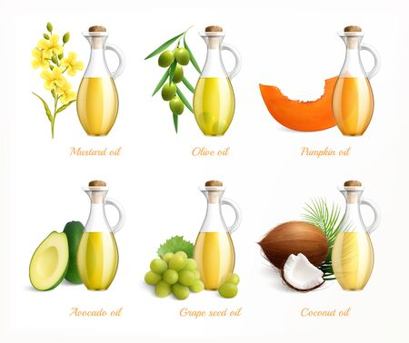 Food oils realistic icon set with mustard olive pumpkin avocado grape seed and coconut oils vector illustration