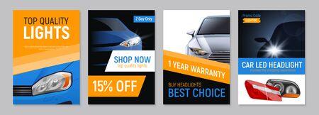 Satz von vier realistischen Autoscheinwerfern, die Banner mit bearbeitbarem Text und Bildern von Autoteilen-Vektorillustrationen werben
