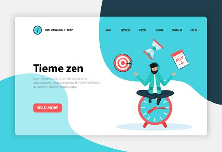 Time management concept flat web landing page banner with employee in yoga pose on clock vector illustration