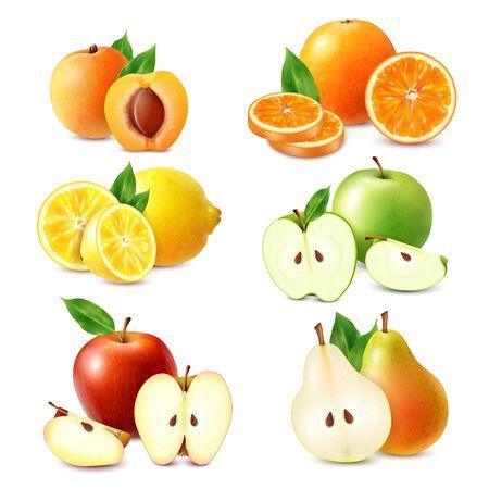Ganze und geschnittene Früchte farbiger Satz Orangen-Zitronen-Apfel-Pfirsich-Birne einzeln auf realistischer Vektorillustration des weißen Hintergrundes