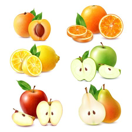 Whole and sliced fruits colored set of orange lemon apple peach pear isolated on white background realistic vector illustration
