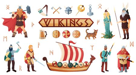 Scandinavian vikings culture weapon armor costume warship people utensils domesticated cat lettering flat icons set vector illustration