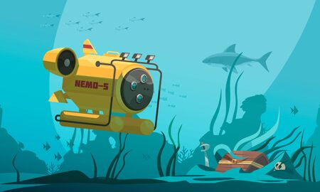 Bathyscaphe diving cabin approaches treasure chest on bottom surrounded by fish and seaweeds underwater background  vector illustration