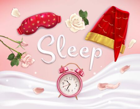 Sleep accessories composition of realistic images with soft linen flowers and alarm clock with editable text vector illustration