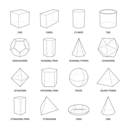 Basic stereometry shapes line set of cuboid octahedron pyramid prism cube cone cylinder torus isolated vector illustration Vettoriali