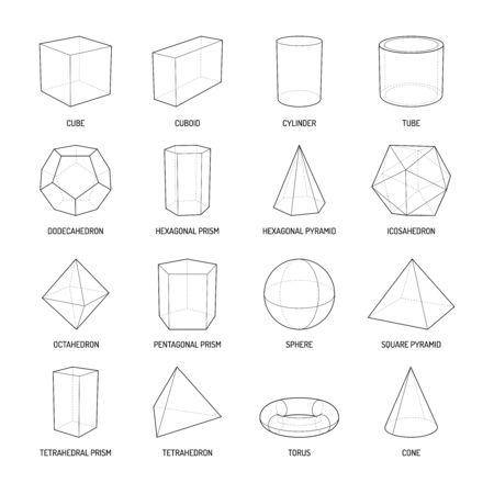 Conjunto de líneas de formas de estereometría básica de prisma de pirámide de octaedro cuboide cono cilindro toro aislado ilustración vectorial