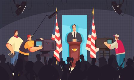 President speaking at the podium in front of people camera operators flat composition dark background vector illustration